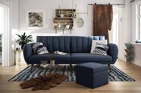 Futon Interior Design Novogratz Brittany Sofa Futon Navy Linen Showcasing