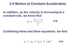 2 in addition as the velocity is increasing at a constant rate we know that combining these last three equations we find 2 8 2 9