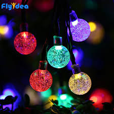Led Round Ball Christmas Lights Us 13 77 30 Off 5m Led Christmas Lights New Years Halloween Garden Garland Round Ball Light String Solar Battery Holiday Crystal Decorative In