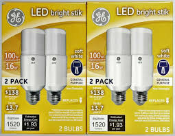 Ge Lighting 9w Bright Stik Soft White Led Bulb Ge 32304 Led Bright Stik 16 Watt Soft White Light Bulbs 100 W Equivalent 4 Total