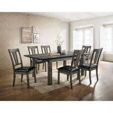 drexel 7 piece gray dining set with 6 cushioned chairs