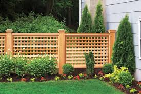Here's a lovely wooden lattice fence with pretty landscaping.