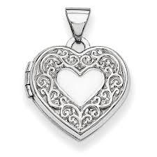 Scroll Heart 14kt White Gold 5 8in Scroll Heart Locket