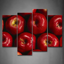 framed red apple water drop fruit canvas print wall art painting healthy picture