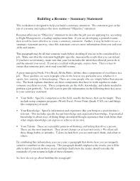 Resume Synopsis Examples Example Of Summary For Resume Resume ...