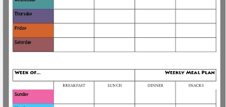 Weekly Meal Plan Chart Free Printable Runholy