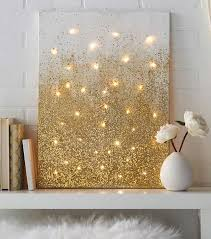 gold diy projects and crafts glitter and lights canvas easy room decor wall
