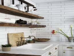 Home, Floating Reclaimed Wooden Shelves White Subway Tile Kitchen  Backsplash Cabinet With Granite Countertop Square