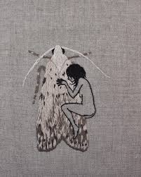 Goth girls moth girls. Goodnight. Hand embroidery on natural.