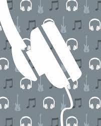 Behang Muziek Met Gitaar En Koptelefoon Blauw Tinklecherry