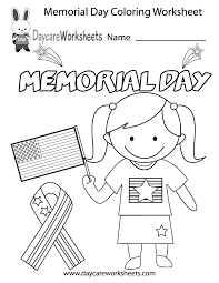 Small Picture Free Preschool Memorial Day Coloring Worksheet