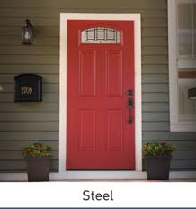 front door with window. Red Front Door With Arched Window At The Top On A Home Green Siding And