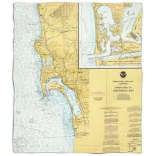 Island Girl Ca San Diego Ca Nautical Chart Fleece Throw