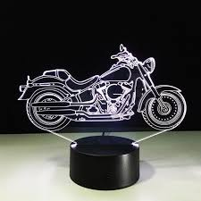 2018 3d motorcycle table lamp visual light effect touch switch remote control color changing nightlight gift for kits sleeping lamp from lightlight