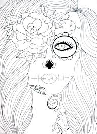 Adult Coloring Page Sugar Skull Girl