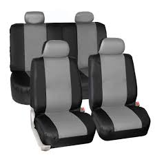 synthetic leather seat covers car suv auto 4 headrest covers gray with dash mat 0