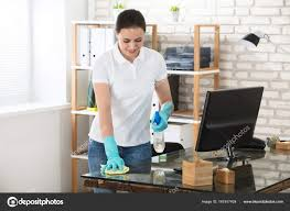 woman office furniture. Woman Cleaning Office Desk \u2014 Stock Photo Furniture I