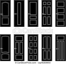 set of black door icons vector ilration