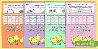 May Phonics Activity Calendar Powerpoint Pack - Phase 2, Phase