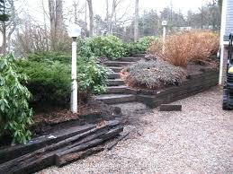 railroad ties retaining wall old railroad tie retaining walls steps a railroad ties retaining wall cost