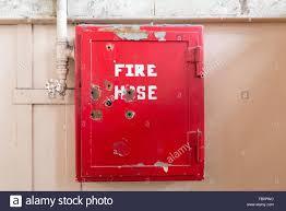 fire hose reel at alcatraz prison in san francisco stock image