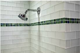 clear glass tile in a small bathroom