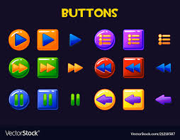 Button Design Colorful Game Design Ui Buttons Cartoon Button