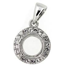 details about semi mount pendant setting rd8x8mm g009s with white topaz