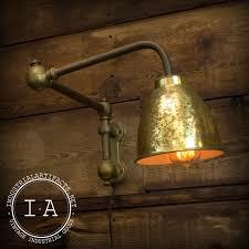 vintage industrial brass adjule wall mount swing arm steampunk