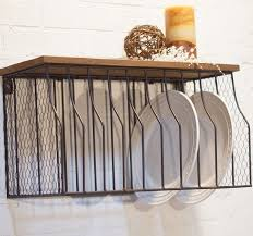 metal wall mounted plate rack with wood