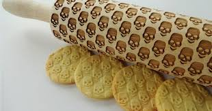 Patterned Rolling Pin Inspiration Make Skull Cookies With This LaserEngraved Wood Rolling Pin