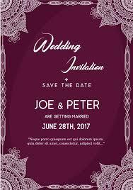 Wedding Invitations Templates Purple Purple Wedding Invitation Template Vector Free Download