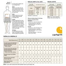 Carhartt Size Chart Mens Carhartt Insulated Bib Overall