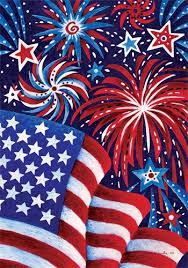 Fireworks And Flag Decorative House Flag