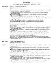 Technical Support Specialist Resume Samples Velvet Jobs