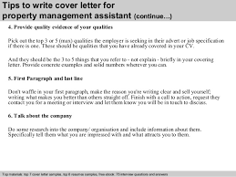 Property Management Assistant Cover Letter Photo Image Property