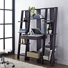 home office ideas neutral. Black Wooden Ladder Shelf Computer Desk With Keyboard Home Office Ideas Neutral
