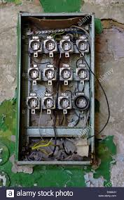 old fuse box in an abandoned house stock photo 70789449 alamy old fuse box in rented house at Old Fuse Box In House