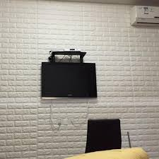 4pcs white 3d brick self adhesive 10mm thicken pe foam panels sticker wallpaper tv bedroom wall decor 66x75cm