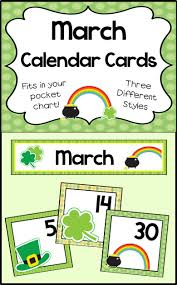 March Calendar Cards School Stuff Preschool Calendar