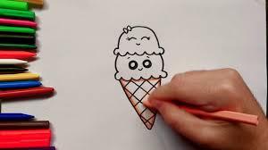 Deux boules de glace dans deux différents cornets, à colorier. Comment Dessiner Une Glace Kawaii Facile Dessin Cornet De Glace Youtube