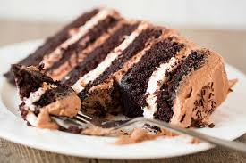 Six Layer Chocolate Cake with Toasted Marshmallow Filling & Malted