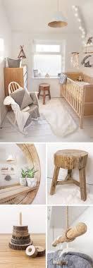 scandi nordic woodland ethnic native american nursery featuring rocking chair rustic wooden stool circular wooden mirror fur rug and scandi