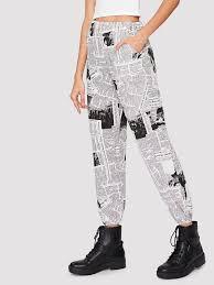 Newspaper Print Tapered Pants
