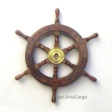 nautical teak wood ship s wheel 12 solid brass hub pirate boat wall decor