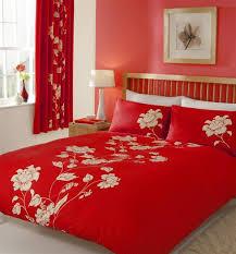 double duvet set red white flower bedding quilt cover bed set