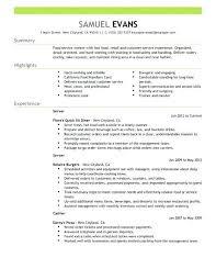 Restaurant Resume Templates Interesting Restaurant Resume Templates Food Server Template Fast Example