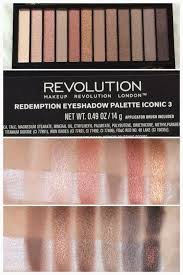 makeup revolution redemption eyeshadow palette in iconic 3 swatch