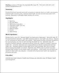 Resume Templates: Provider Enrollment Specialist