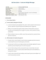 Job Description Customer Delight Process Manager